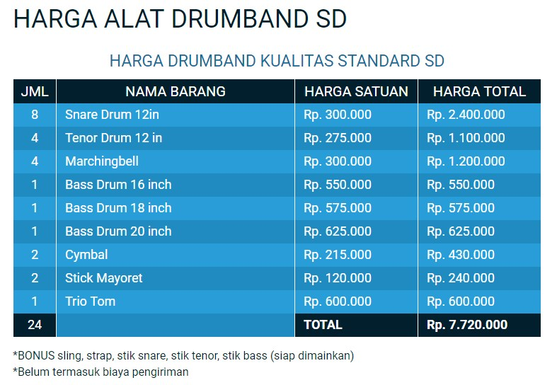 harga alat musik drumband sd harga terjangkau