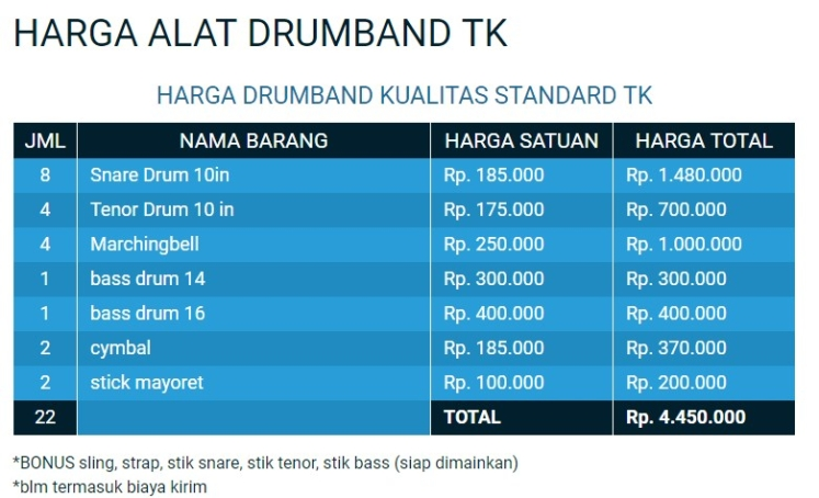 harga alat musik drumband tk