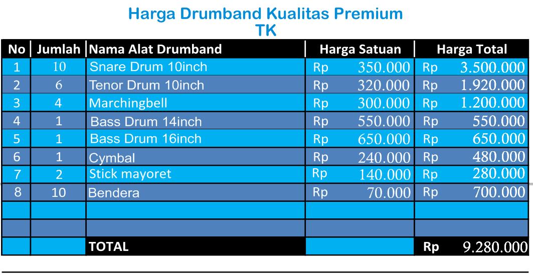 harga drumband TK Premium