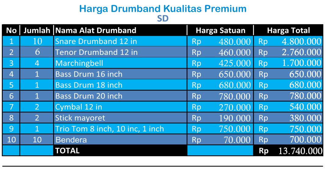 harga drumband SD Premium