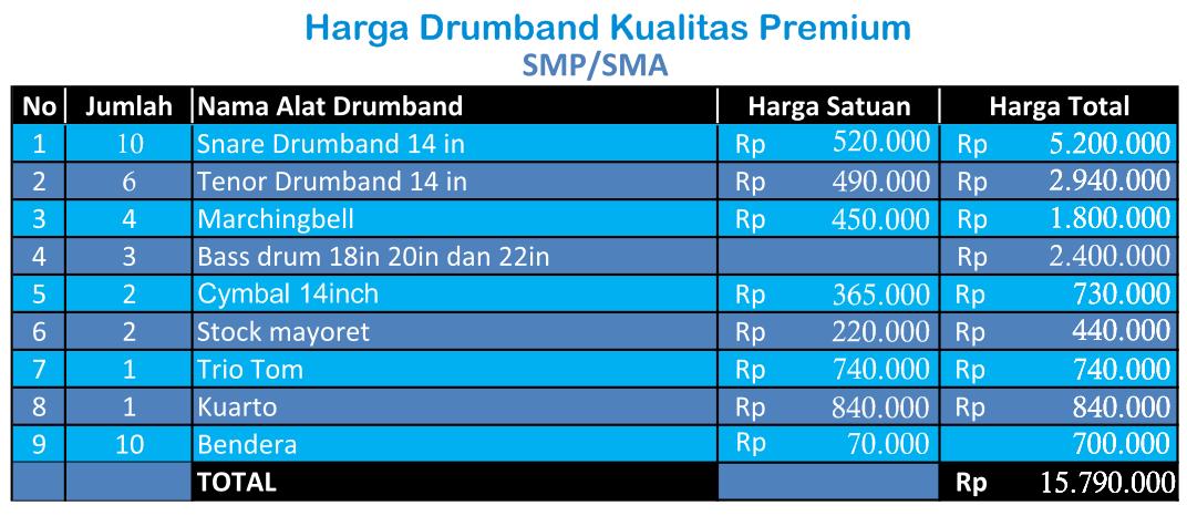 harga alat drumband SMP-SMA Premium